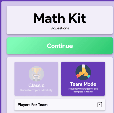 team mode in gimkit