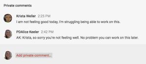 Teacher replies in Google Classroom