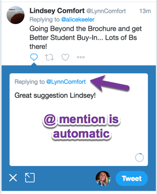 at mention is automatic in a reply