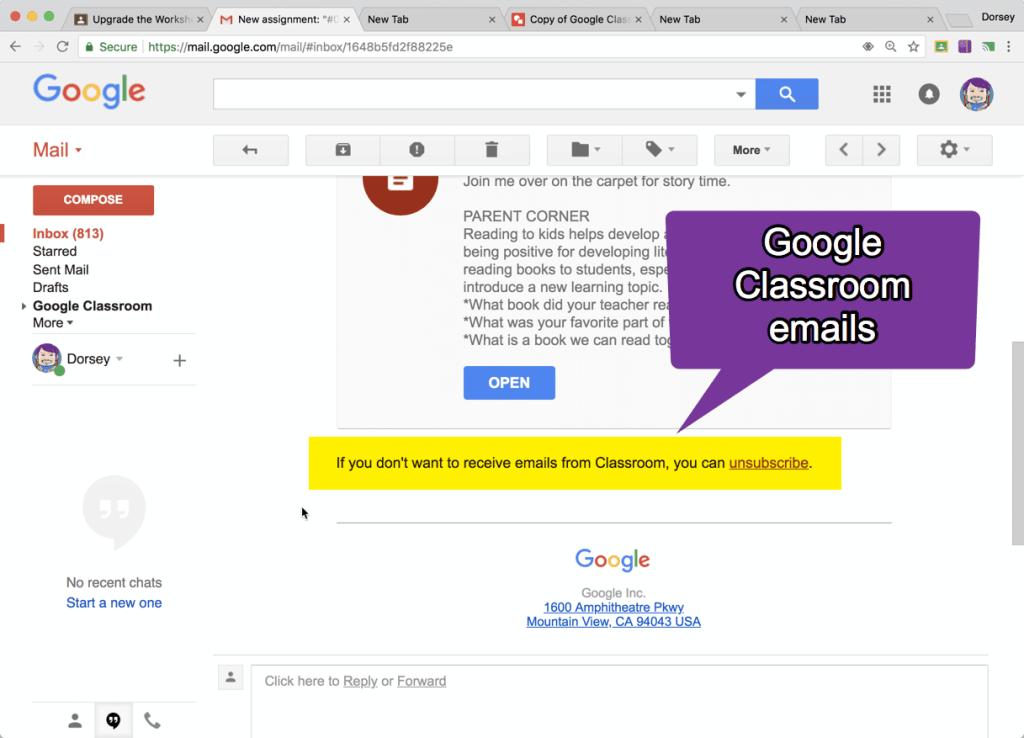 Google Classroom emails