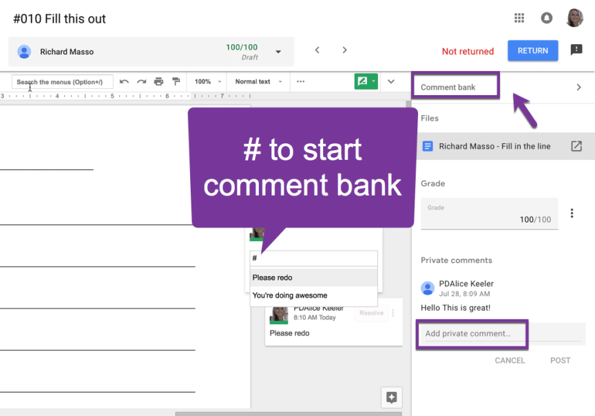 comment bank in the sidebar