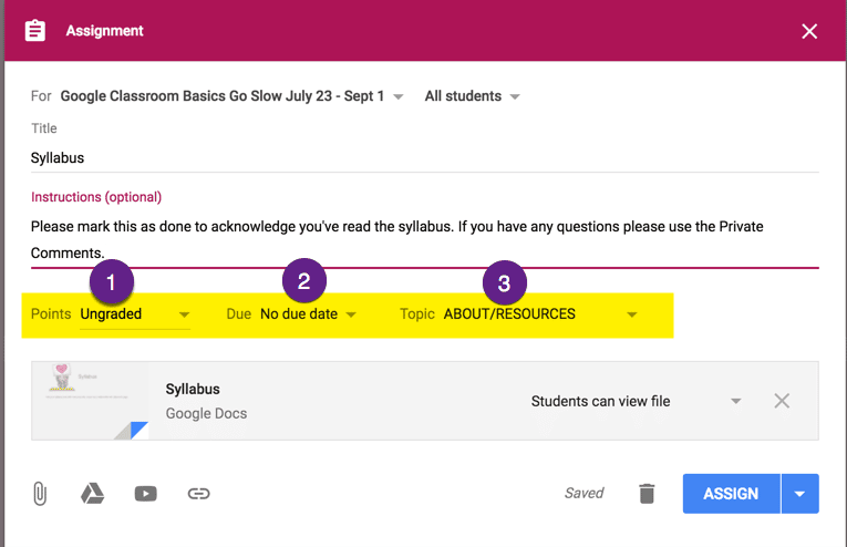 new google classroom add resources to the about link teacher tech