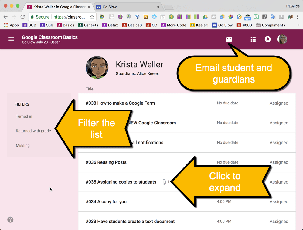 Individual Student view in Google Classroom