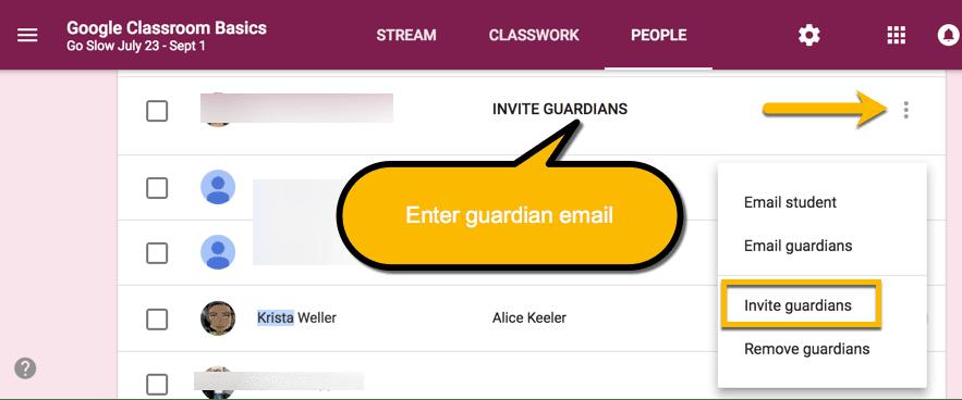 Invite guardians on the people tab