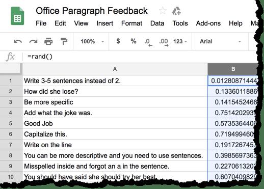 Peer feedback in a spreadsheet