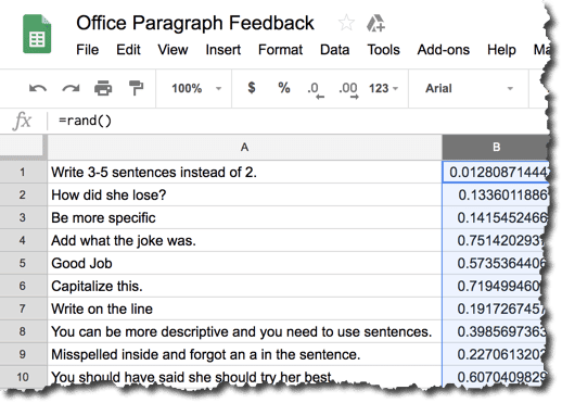 Peer feedback in a spreadsheet