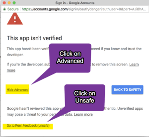 Click on advanced and unsafe