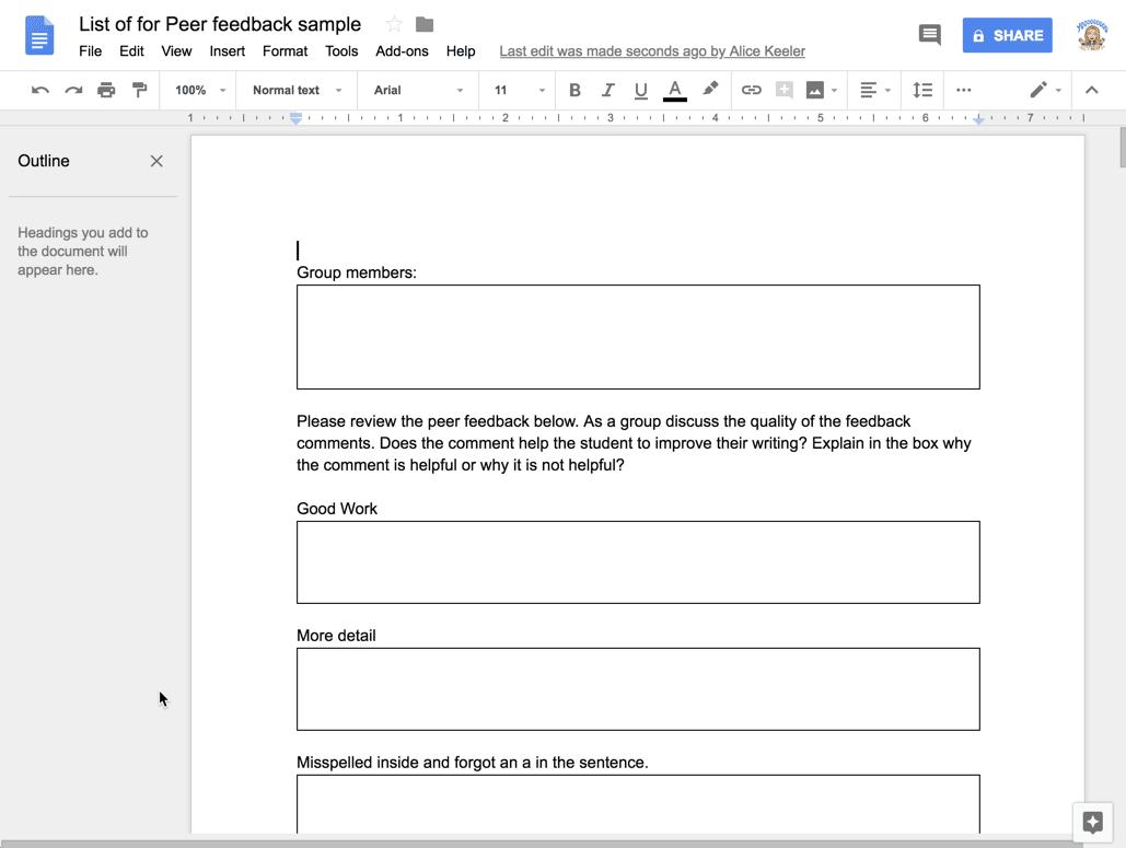 Peer feedback Google DOc