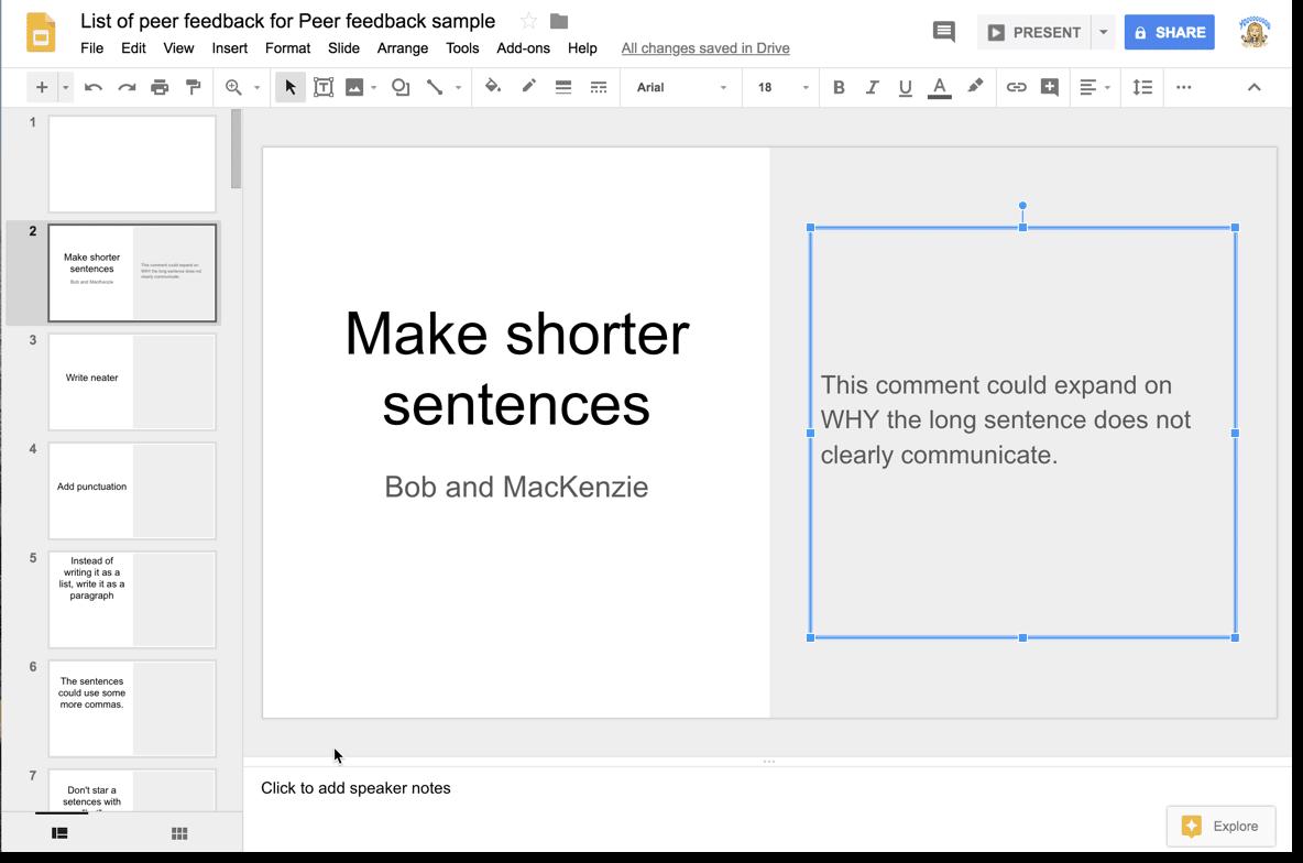 Claim a slide and upgrade the feedback