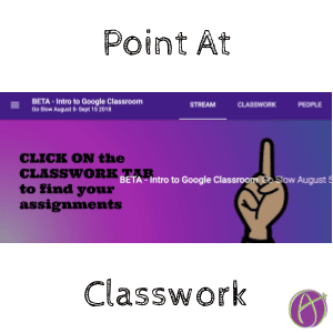 Point at the google classroom classwork tab