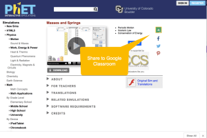 PhET Sim share to google classroom