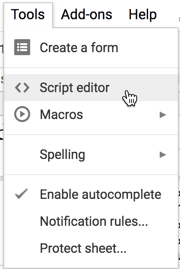 Script editor in the Tools menu