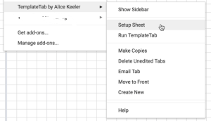 SEtup sheet with templatetab