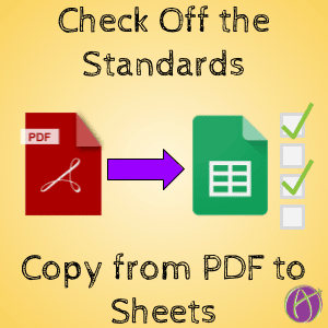 Copy and Paste Standards from a PDF into Google Sheets
