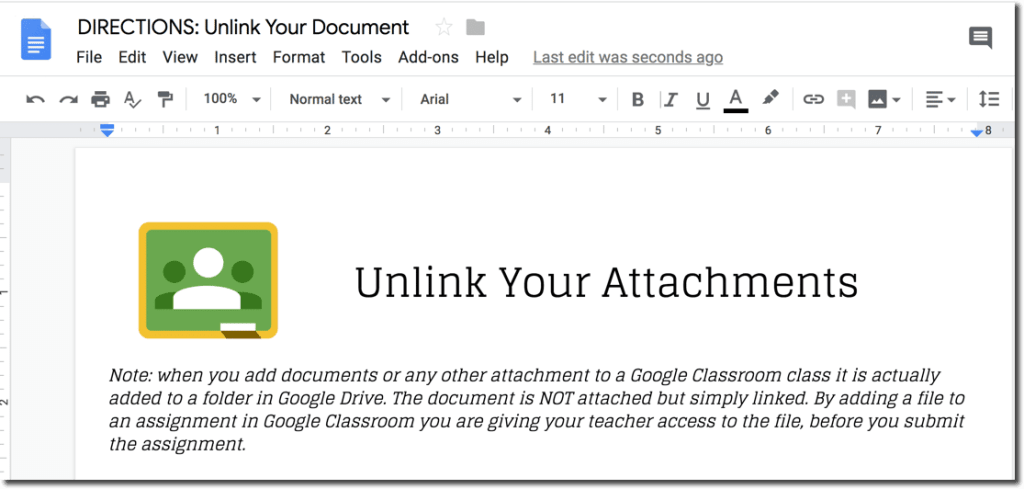 DIRECTIONS: Unlink Document in Google Classroom