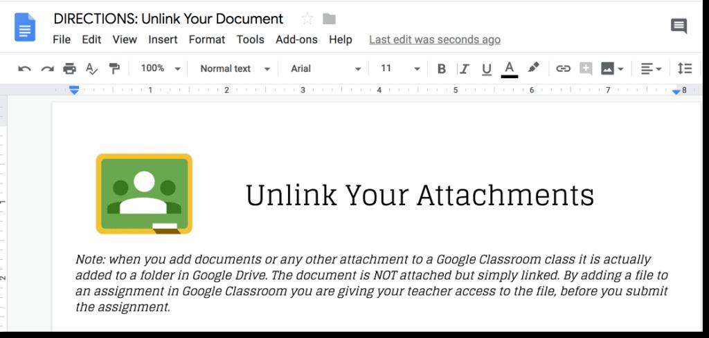 DIRECTIONS: Unlink Document in Google Classroom