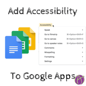 Accessibility menu in google apps