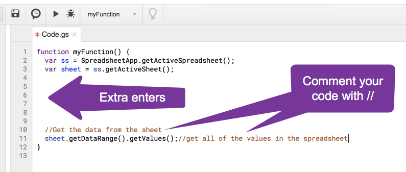 Press enter several times and use 2 slashes to comment what comes next in your code.