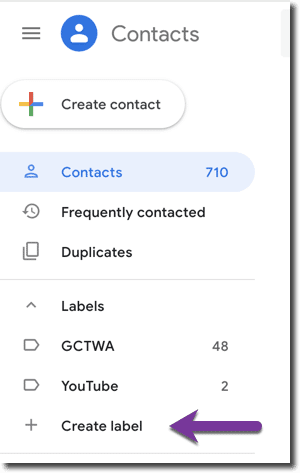 Find the create label on the left hand side of google contacts