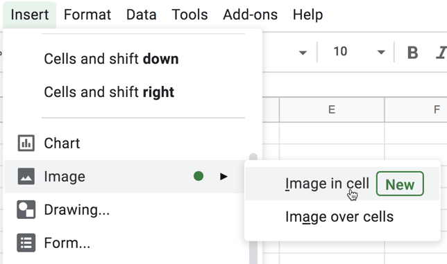 Insert menu insert image in cell