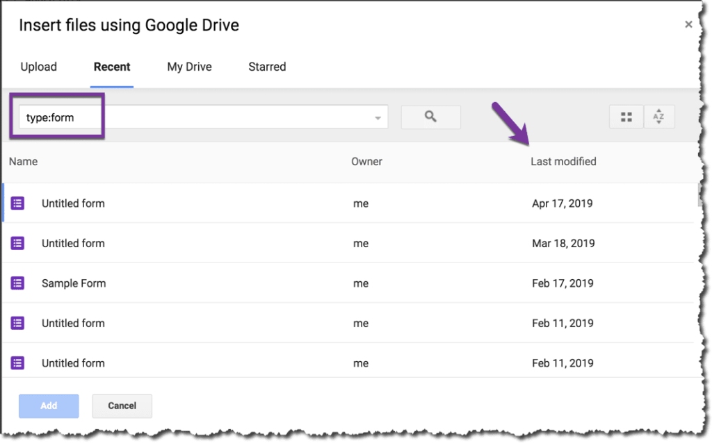 Use type:form in the search box to find Google Forms to add to