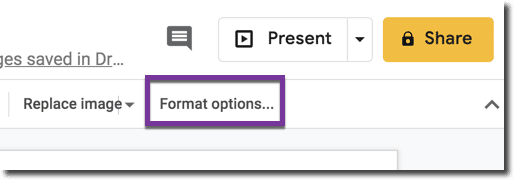 Format options in the toolbar
