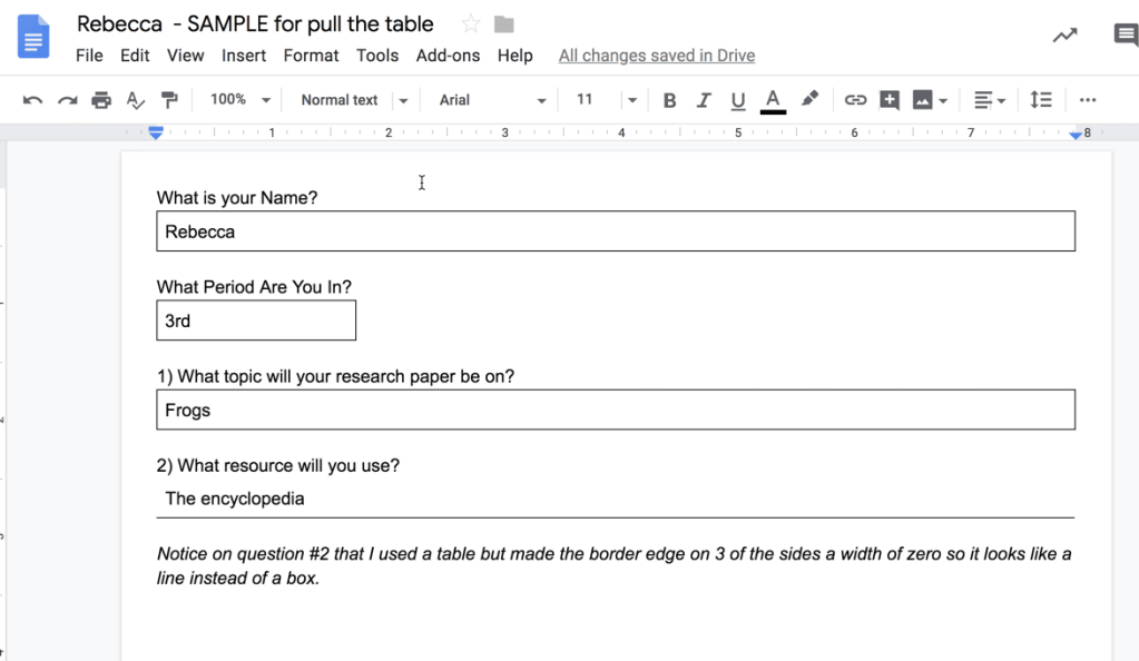 Sample student Google doc with boxes filled out.