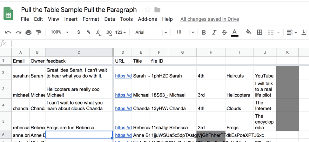 Spreadsheet of students responses in one spot