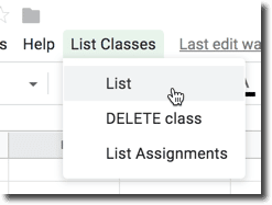 list classes menu