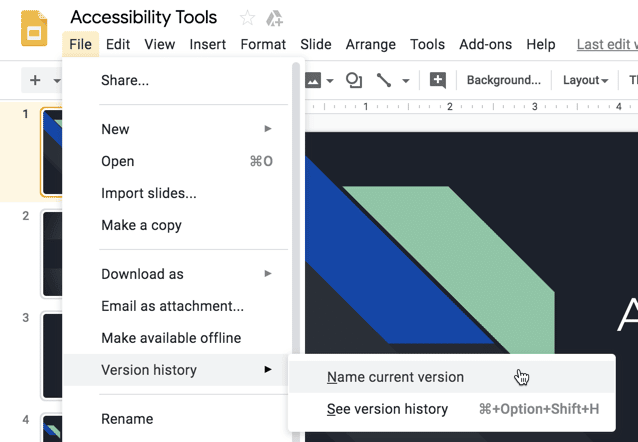 Google Slides file version history name current version