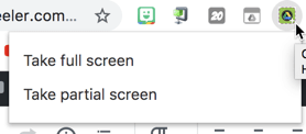 Take a full or partial screenshot shot with chrome extension