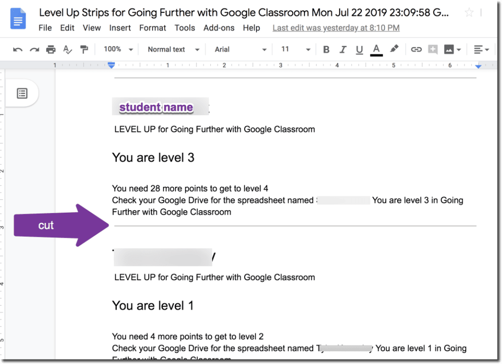 Google Classroom Level Up Strips