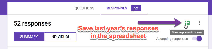Click on the spreadsheet icon in the Form responses.