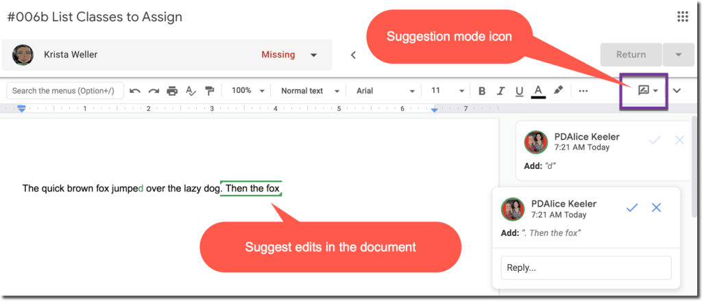 Suggestion Mode in Google Classroom