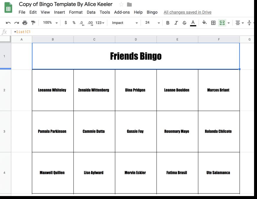 Bingo Sheet example in Google Sheets