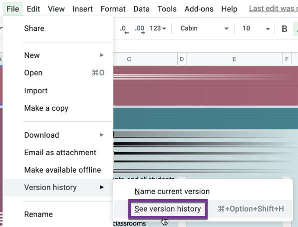 Version history in the file menu