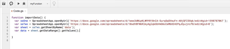 Google Apps Script Two Spreadsheets
