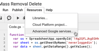Resources Menu advanced google services