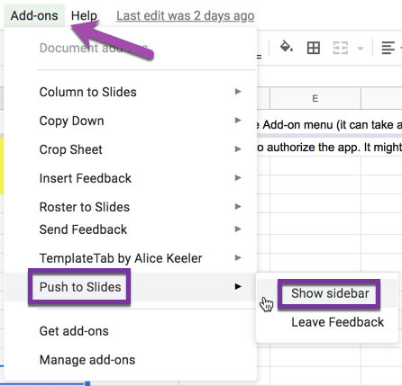 Add-ons menu Push to slides and Show Sidebar