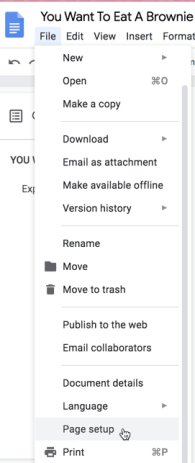 File menu Page Setup