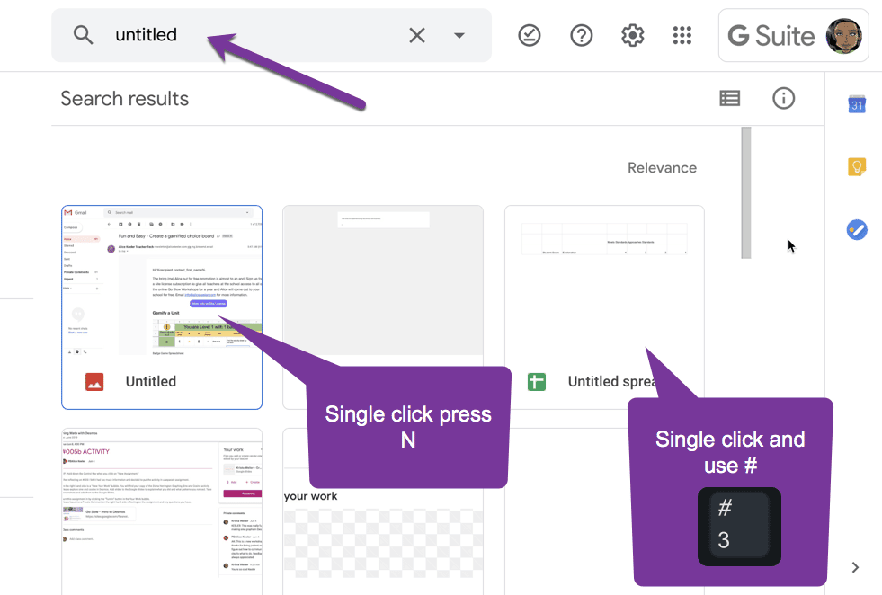 search untitled in Google Drive. Use N to rename them or hashtag to delete them.