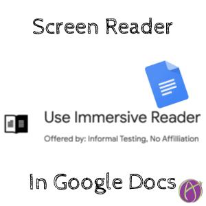 immersive reader screen reader for Google Docs chrome extension