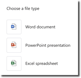 Create a new Word, PowerPoint or Excel file