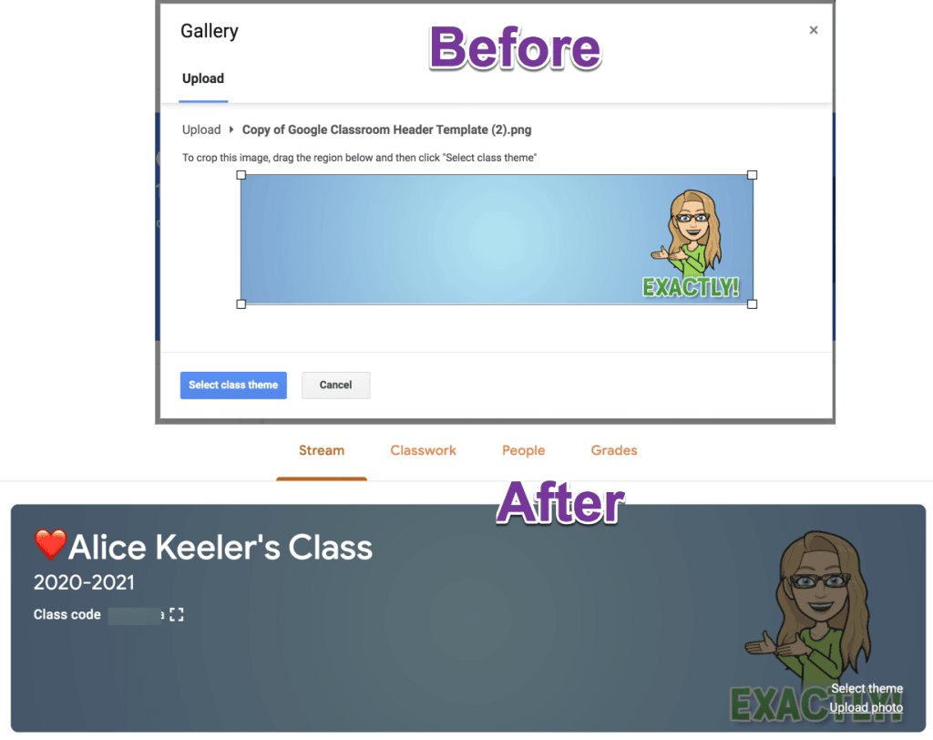 Before and After Google Classroom header Banner