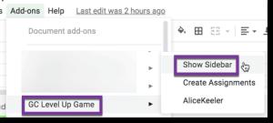 Add on menu show sidebar