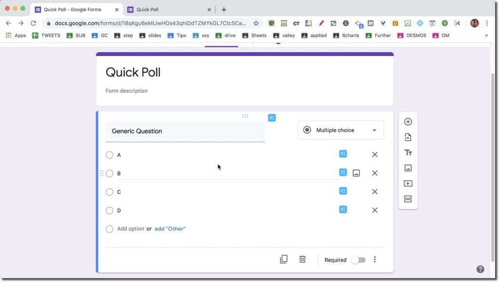 Google Forms generic quick question.