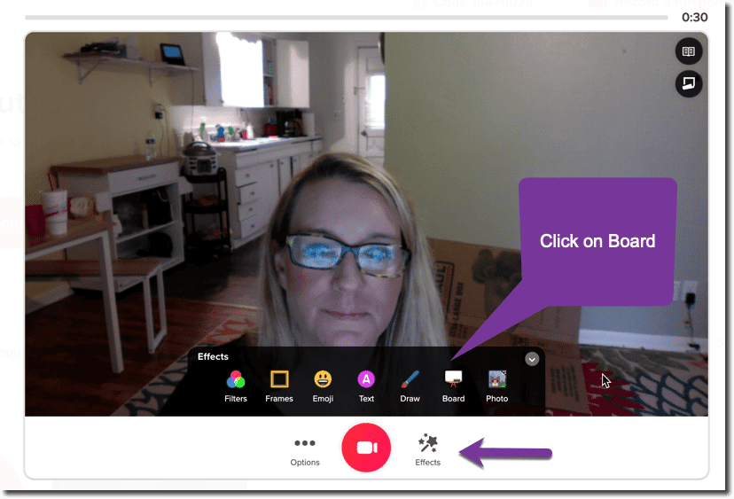 Flipgrid record screen, choose the effects.