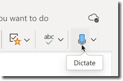Dictation icon in the onenote toolbar