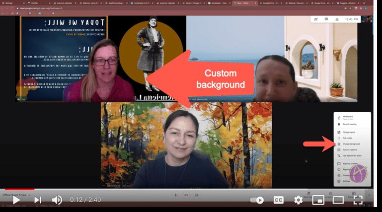 Google Meet screenshot with custom backgrounds