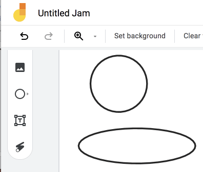 make a circle vs ellipse in Google Jamboard by just tapping rather than tap and drag